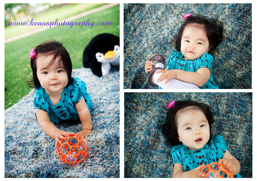 Photo collage baby on blue blanket