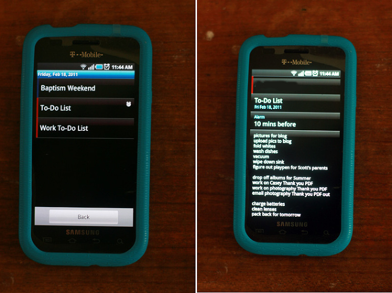 side by side of galaxy phone showing google calendar and to do list
