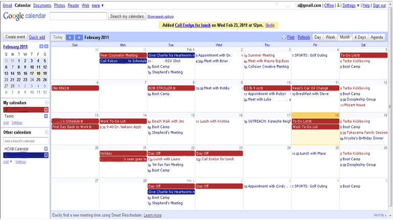 Picture of a shared google calendar