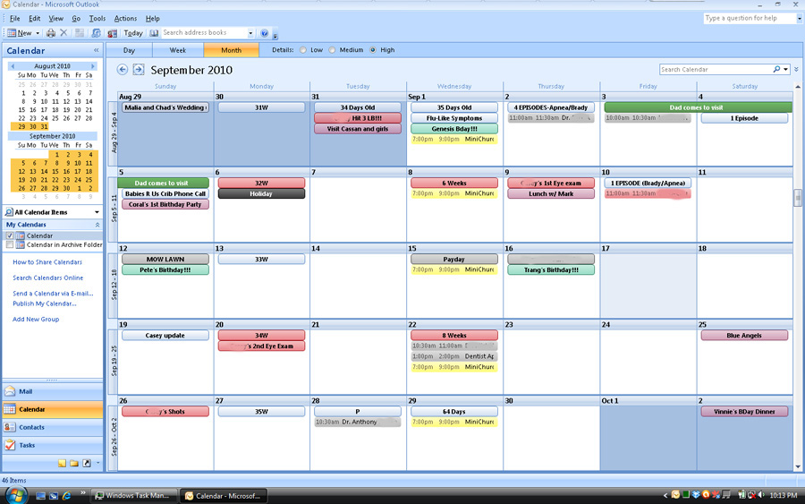Example of my personal outlook calendar screen shot