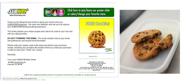 Subway cookie coupon