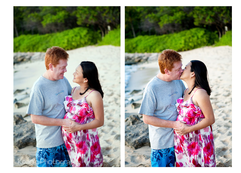 West Oahu maternity photos couple kissing