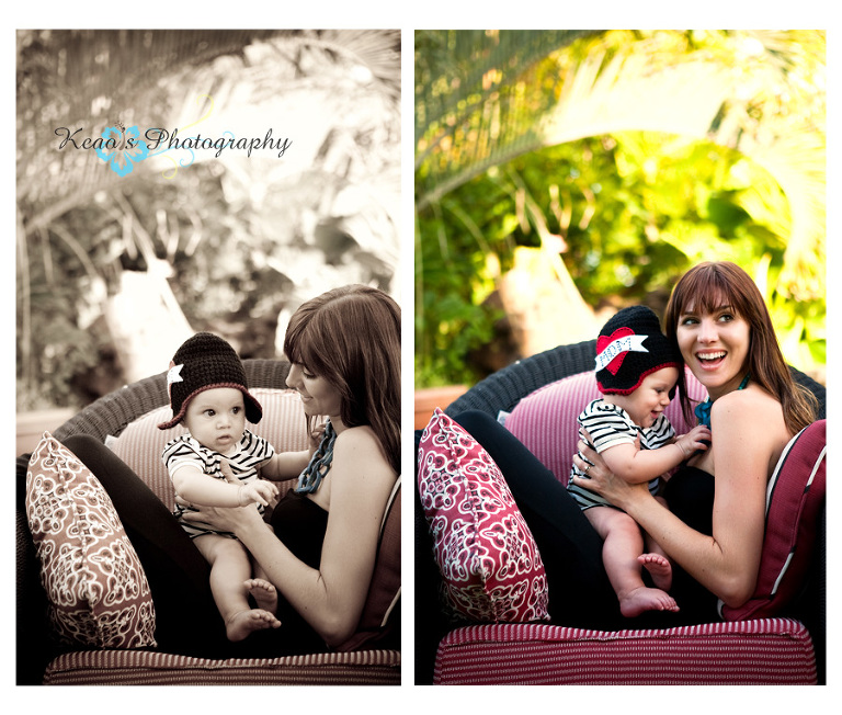 kailua hawaii baby boy photography with mom sitting in chair