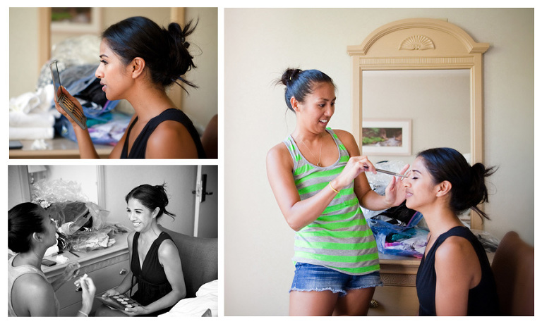 Hawaii bride getting ready at Hickam Officer's club