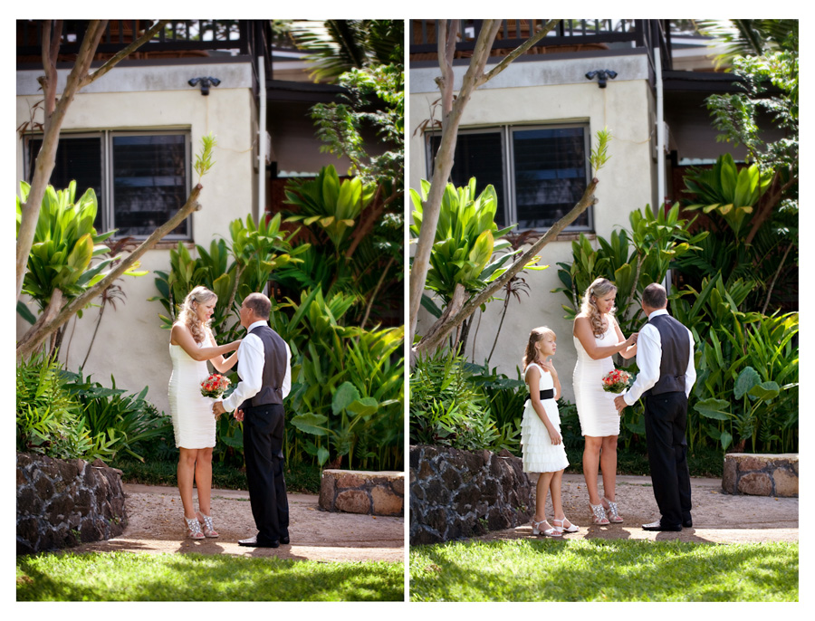 Kaneohe Bay Resort wedding bride fixing the grooms tie