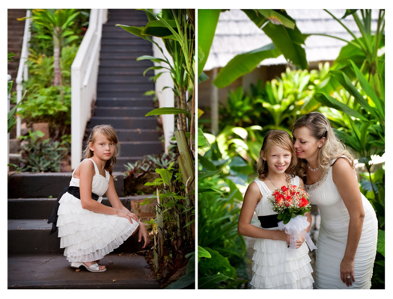 Kaneohe wedding flower girl and the bride photos