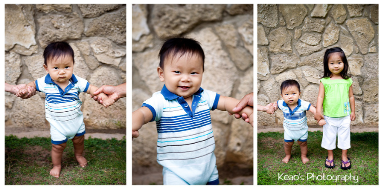 three pictures of baby boy standing up