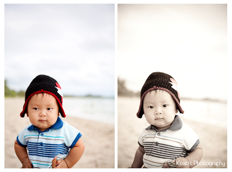 two photos of baby boy on kailua beach hawaii