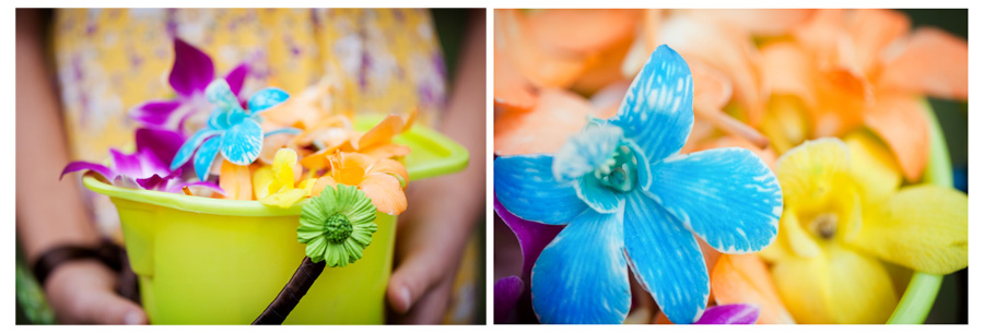 Hawaiian flower girl basket detail wedding photos