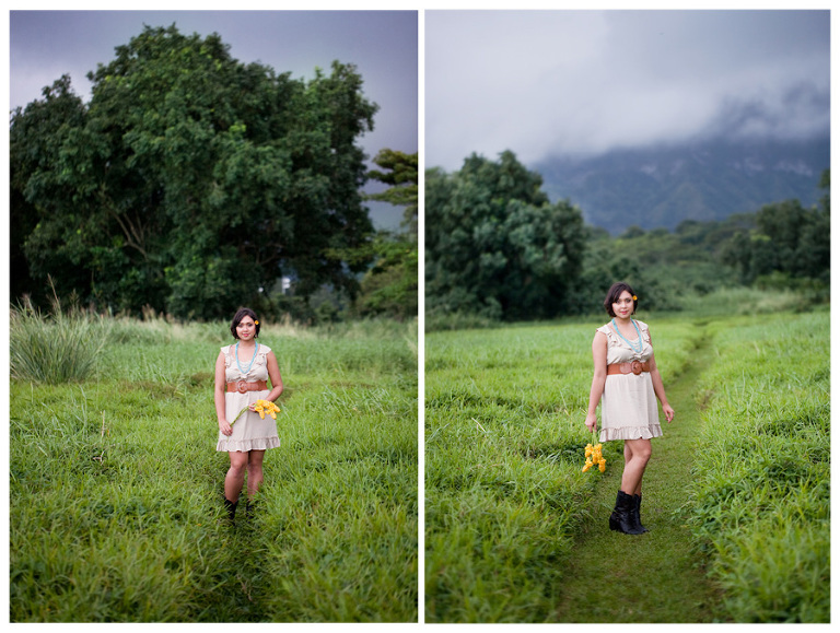 Kaneohe Hawaii senior portrait in a field