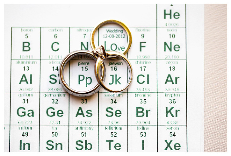 creative periodic table ring shot for science loving bride and groom