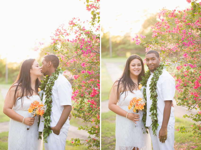 kapolei hawaii wedding with orange colors