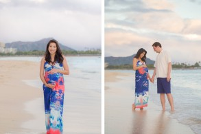 couple maternity photos Ala Moana Beach Honolulu Hawaii