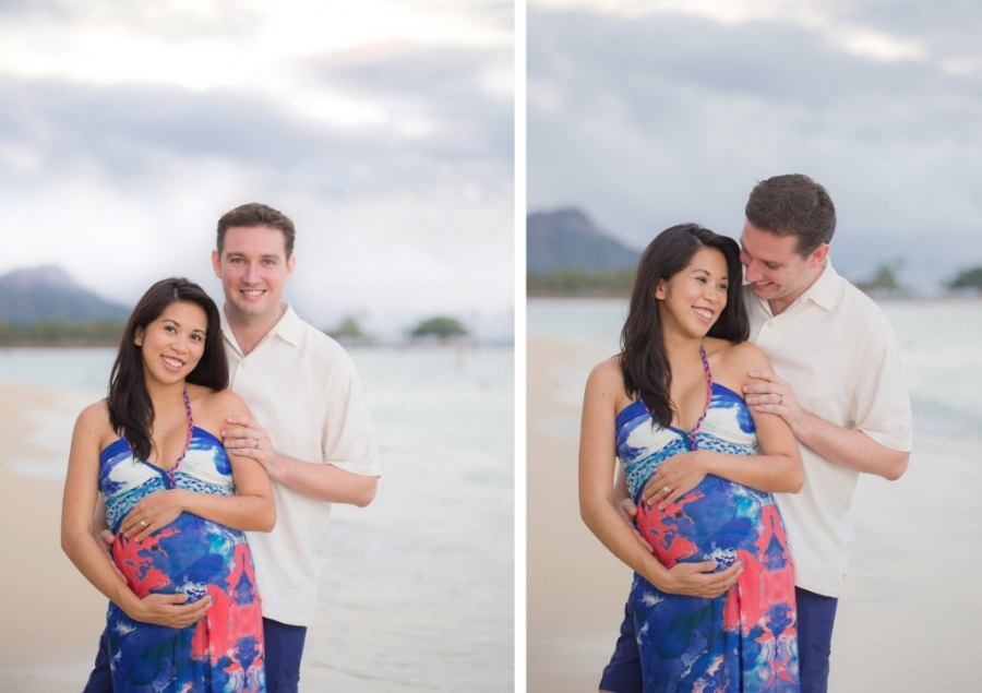 sweet couple with photos by Hawaii maternity photographer on Oahu